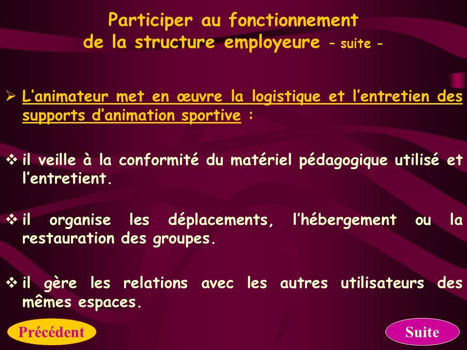 Participer au fonctionnement de la structure employeure  L'animateur participe à l'élaboration de projet d'animation de la structure en partenariat :  il inscrit le projet d'activités dans le projet de sa structure.