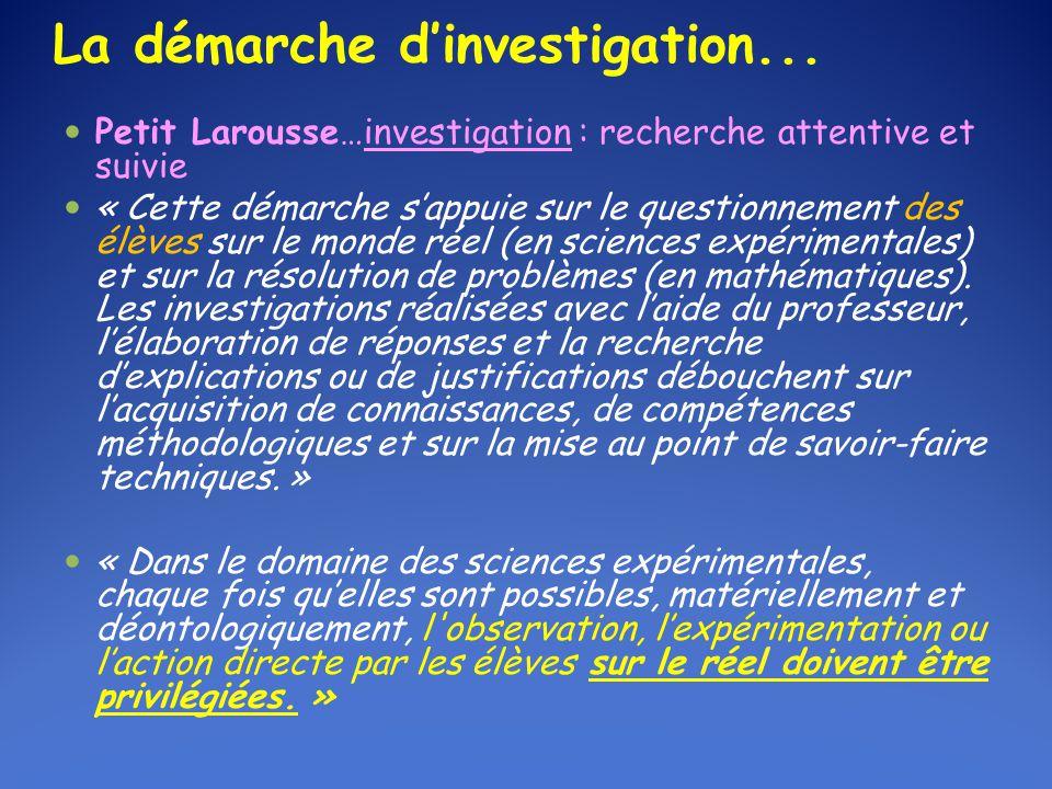 « Une séance d'investigation doit être conclue par des activités de synthèse et de structuration organisées par l'enseignant, à partir des travaux effectués par la classe.
