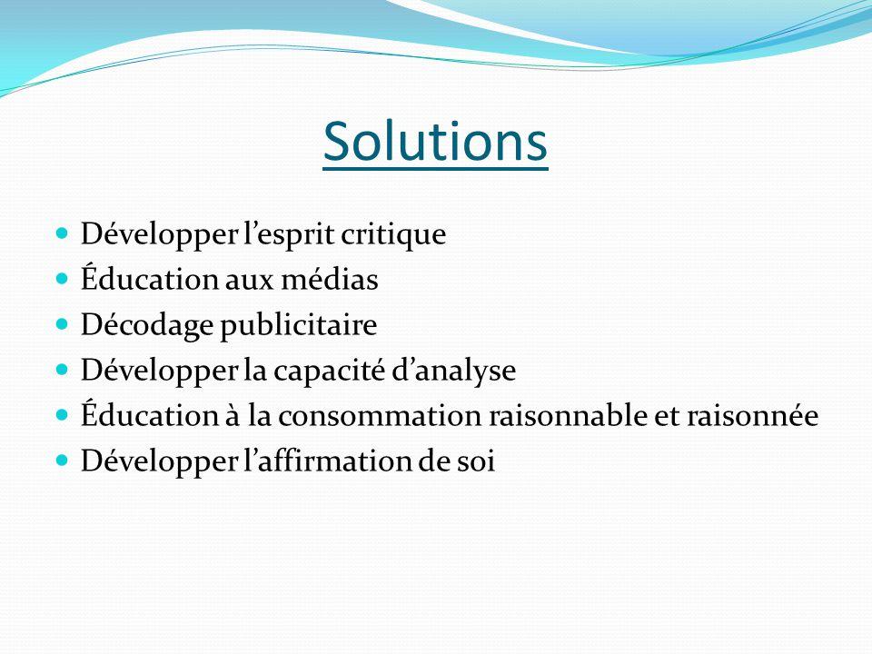 Solutions  Développer l'esprit critique  Éducation aux médias  Décodage publicitaire  Développer la capacité d'analyse  Éducation à la consommati