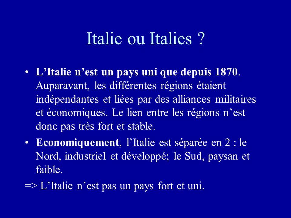 Italie ou Italies .•L'Italie n'est un pays uni que depuis 1870.