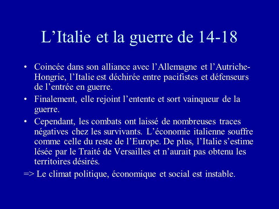 L'Italie et la guerre de 14-18 •Coincée dans son alliance avec l'Allemagne et l'Autriche- Hongrie, l'Italie est déchirée entre pacifistes et défenseurs de l'entrée en guerre.