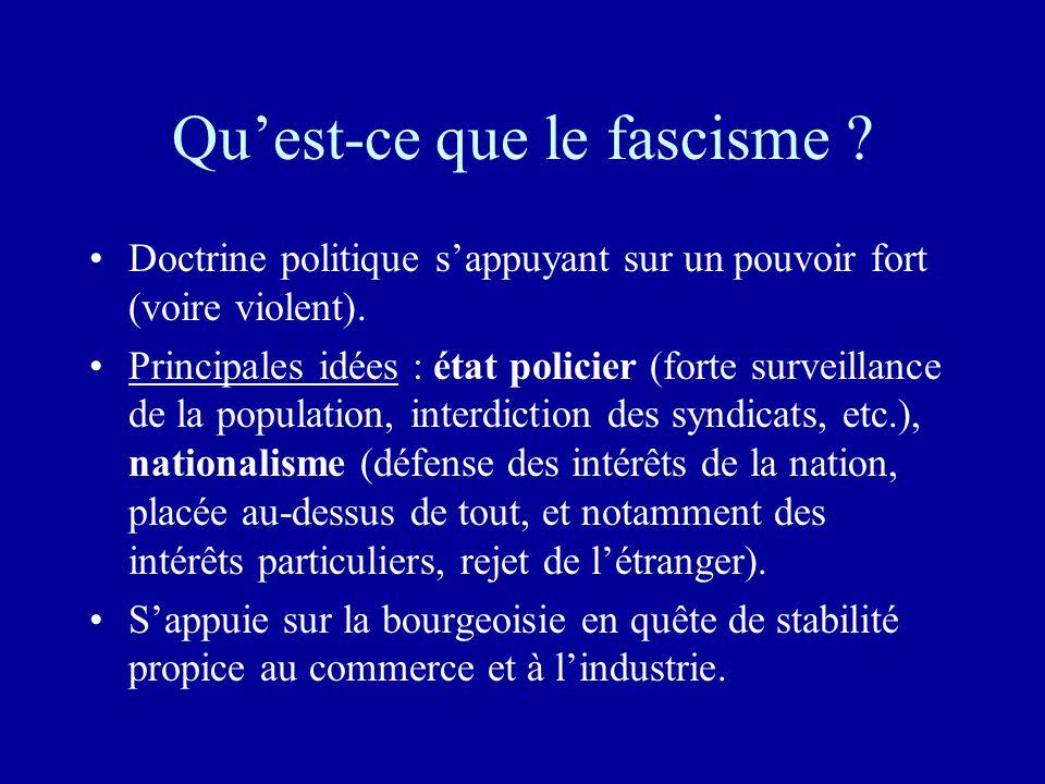 Qu'est-ce que le fascisme .•Doctrine politique s'appuyant sur un pouvoir fort (voire violent).