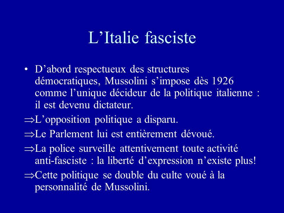 L'Italie fasciste •D'abord respectueux des structures démocratiques, Mussolini s'impose dès 1926 comme l'unique décideur de la politique italienne : il est devenu dictateur.