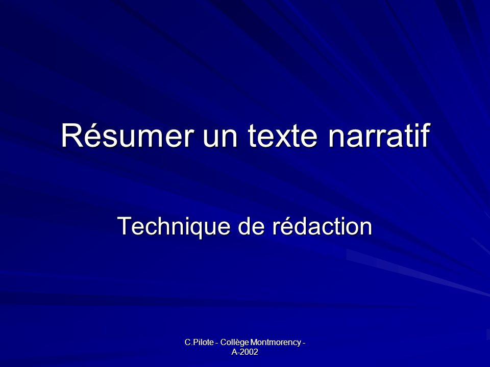 C.Pilote - Collège Montmorency - A-2002 Résumer un texte narratif Technique de rédaction