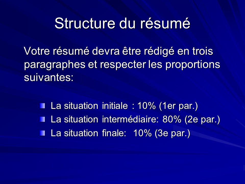 Structure du résumé Votre résumé devra être rédigé en trois paragraphes et respecter les proportions suivantes: Votre résumé devra être rédigé en troi
