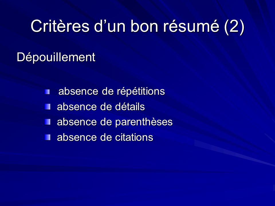 Critères d'un bon résumé (2) Dépouillement absence de répétitions absence de répétitions absence de détails absence de détails absence de parenthèses