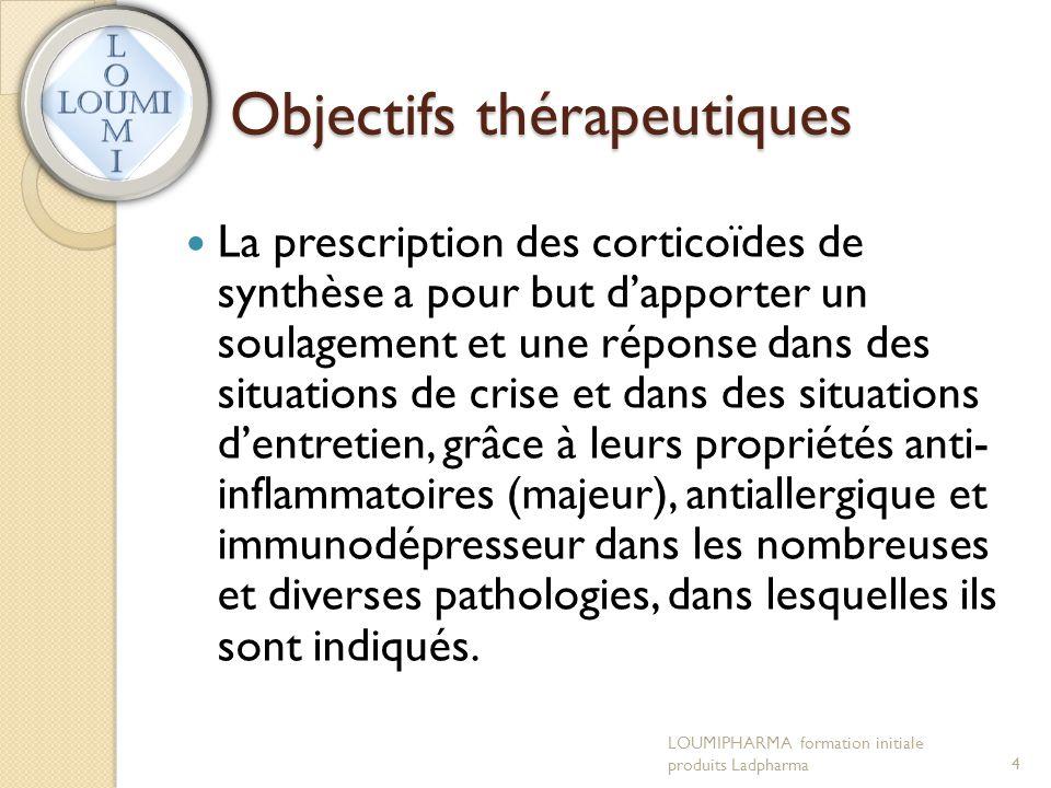 Objectifs thérapeutiques  La prescription des corticoïdes de synthèse a pour but d'apporter un soulagement et une réponse dans des situations de cris