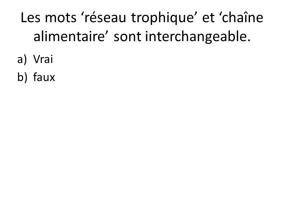 Les mots 'réseau trophique' et 'chaîne alimentaire' sont interchangeable. a)Vrai b)faux
