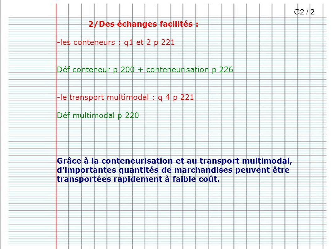 2/Des échanges facilités : -les conteneurs : q1 et 2 p 221 Déf conteneur p 200 + conteneurisation p 226 -le transport multimodal : q 4 p 221 Déf multi