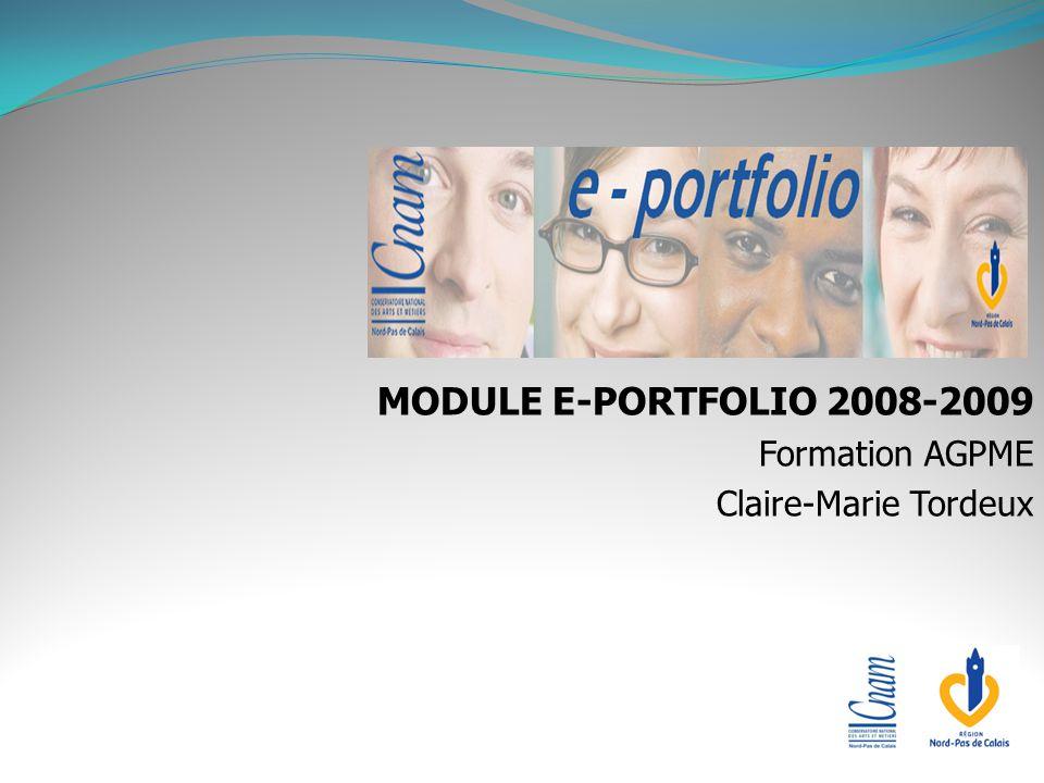 MODULE E-PORTFOLIO 2008-2009 Formation AGPME Claire-Marie Tordeux