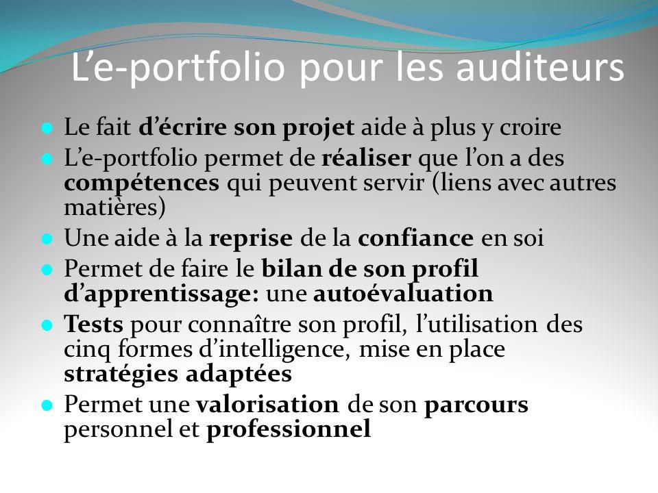 L'e-portfolio pour les auditeurs  Le fait d'écrire son projet aide à plus y croire  L'e-portfolio permet de réaliser que l'on a des compétences qui