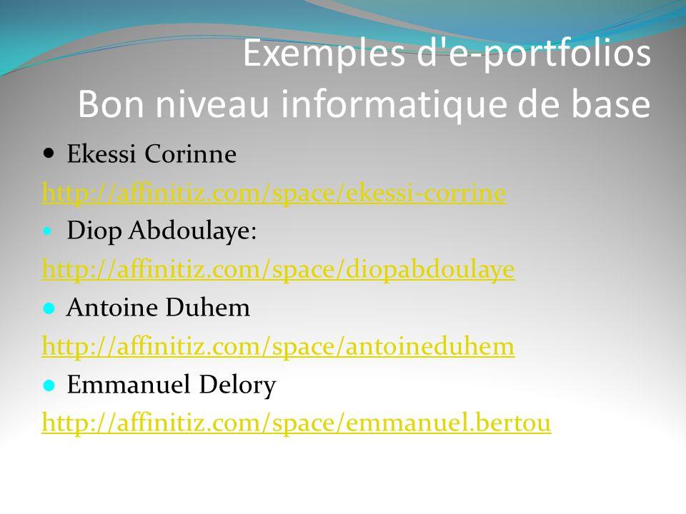 Exemples d'e-portfolios Bon niveau informatique de base  Ekessi Corinne http://affinitiz.com/space/ekessi-corrine  Diop Abdoulaye: http://affinitiz.