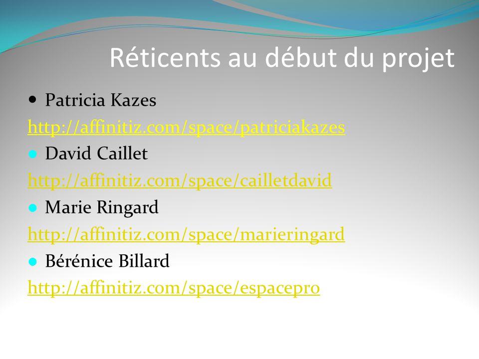 Réticents au début du projet  Patricia Kazes http://affinitiz.com/space/patriciakazes  David Caillet http://affinitiz.com/space/cailletdavid  Marie