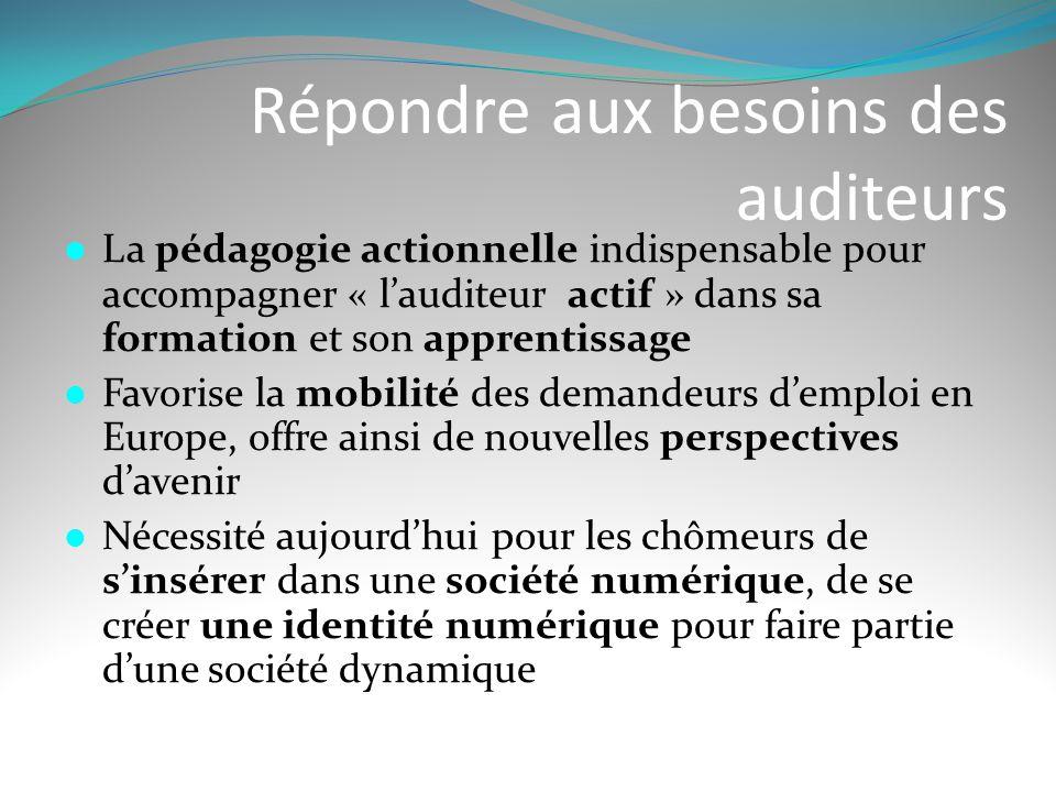 Répondre aux besoins des auditeurs  La pédagogie actionnelle indispensable pour accompagner « l'auditeur actif » dans sa formation et son apprentissa