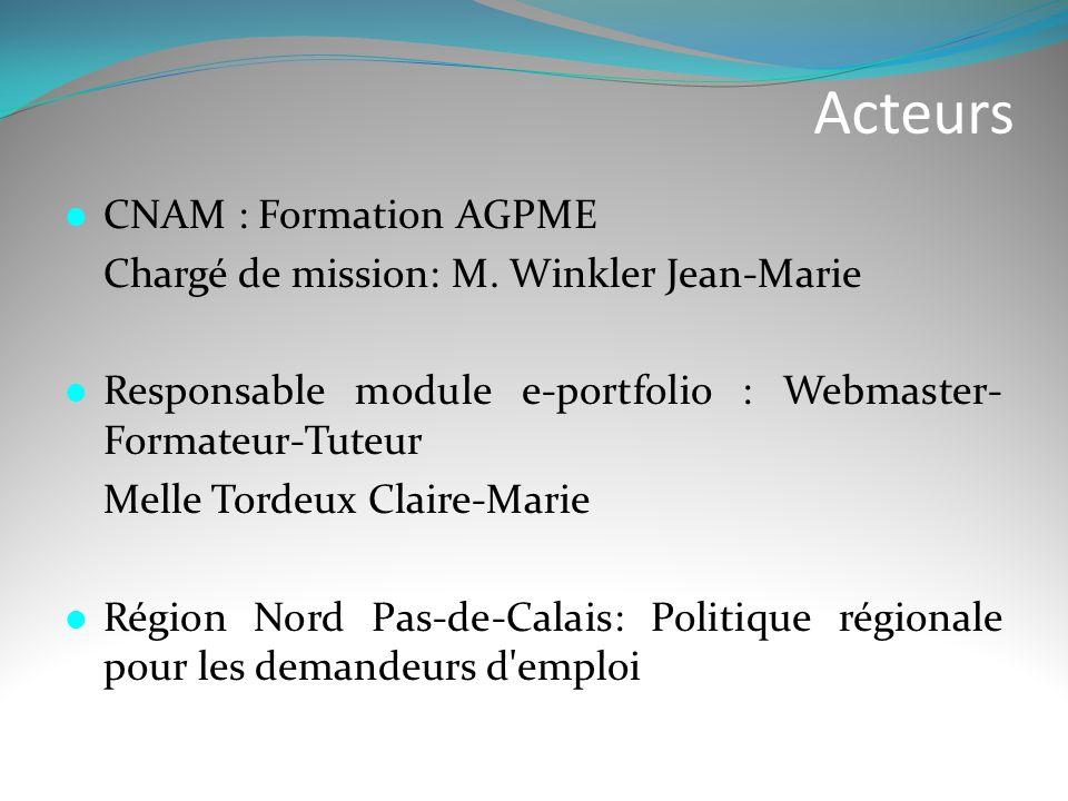 Acteurs  CNAM : Formation AGPME Chargé de mission: M. Winkler Jean-Marie  Responsable module e-portfolio : Webmaster- Formateur-Tuteur Melle Tordeux
