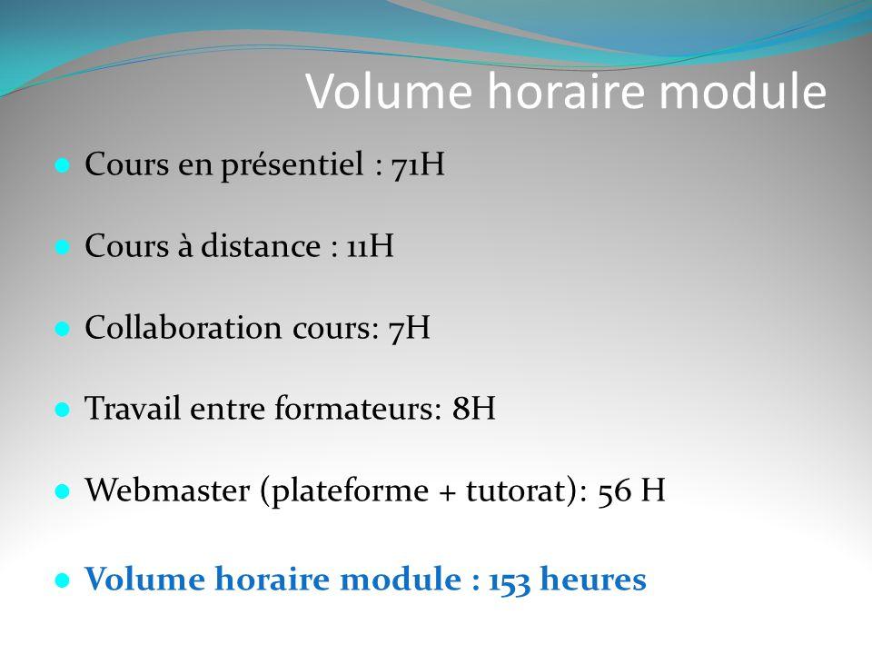Volume horaire module  Cours en présentiel : 71H  Cours à distance : 11H  Collaboration cours: 7H  Travail entre formateurs: 8H  Webmaster (plate