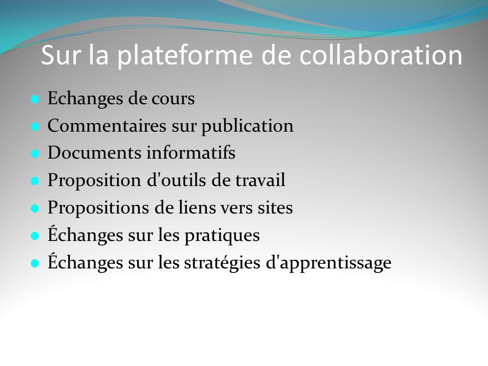 Sur la plateforme de collaboration  Echanges de cours  Commentaires sur publication  Documents informatifs  Proposition d'outils de travail  Prop