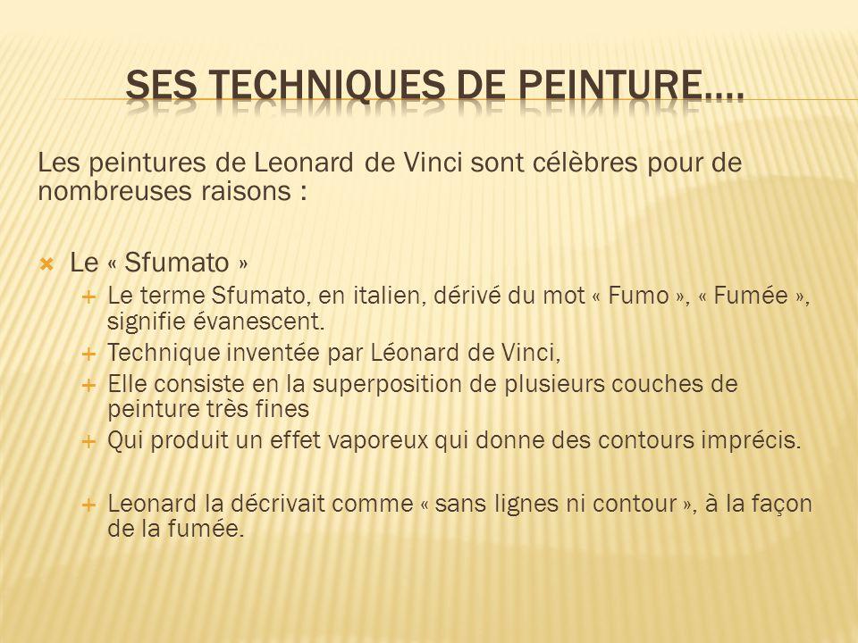Les peintures de Leonard de Vinci sont célèbres pour de nombreuses raisons :  Le « Sfumato »  Le terme Sfumato, en italien, dérivé du mot « Fumo », « Fumée », signifie évanescent.