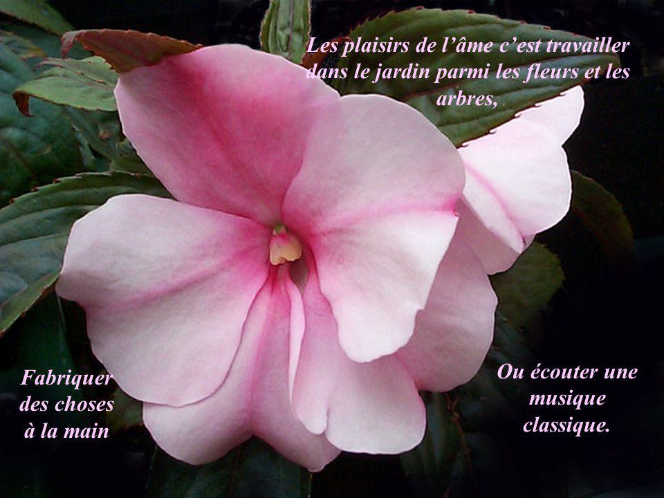 Les plaisirs de l'âme c'est travailler dans le jardin parmi les fleurs et les arbres, Fabriquer des choses à la main Ou écouter une musique classique.