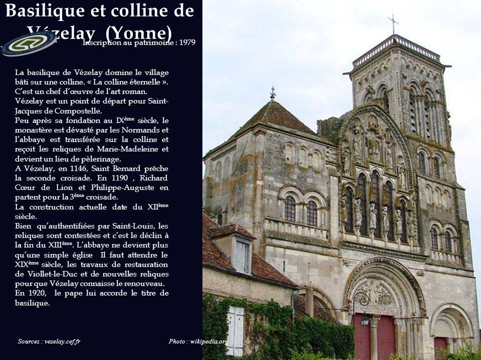 Patrimoine Mondial de l'UNESCO - Basilique et colline de Vézelay - Cathédrale de Chartres - Mont-Saint-Michel et sa baie - Palais et parc de Versaille