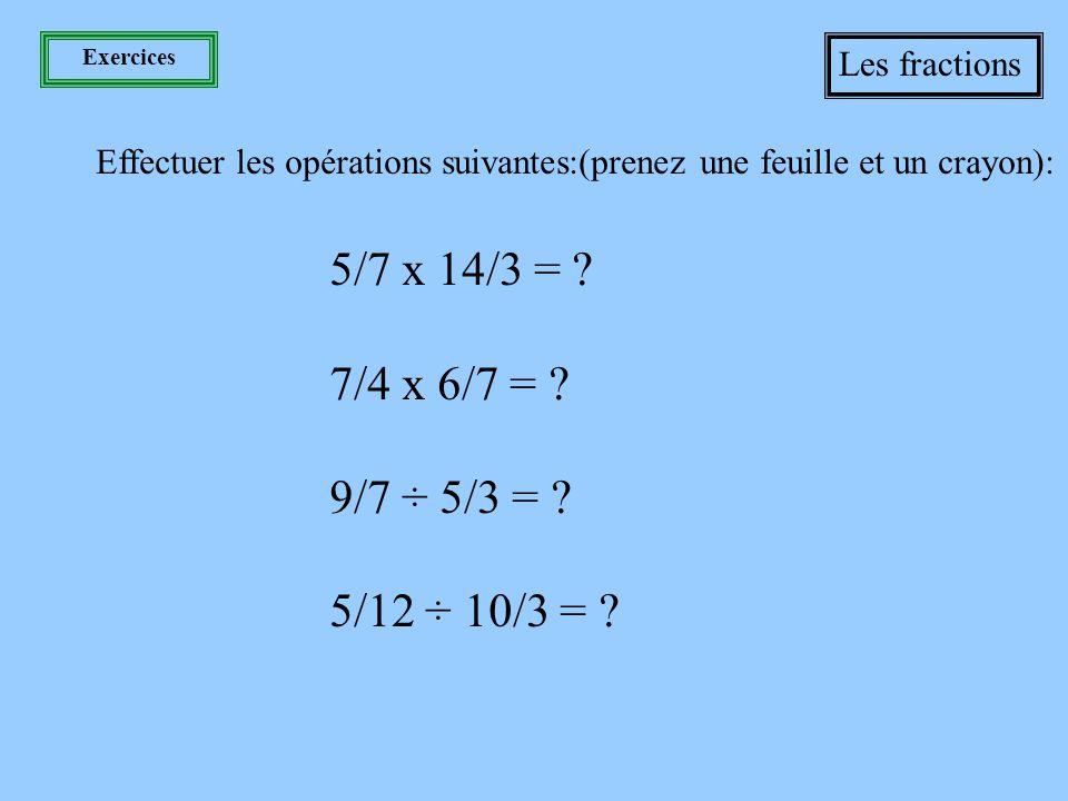 Les 4 opérations Les fractions Division Pour diviser les fractions, il suffit d 'inverser le diviseur, c 'est-à-dire la deuxième fraction, et de multiplier les fractions.