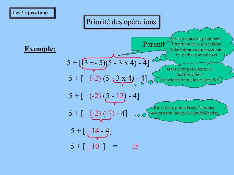 Les 4 opérations Priorité des opérations 1) On effectue les parenthèses en premier lieu.