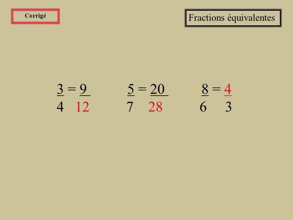 Exercices Fractions équivalentes Compléter les fractions équivalentes suivantes: 3 = 9 5 = 20 8 = .
