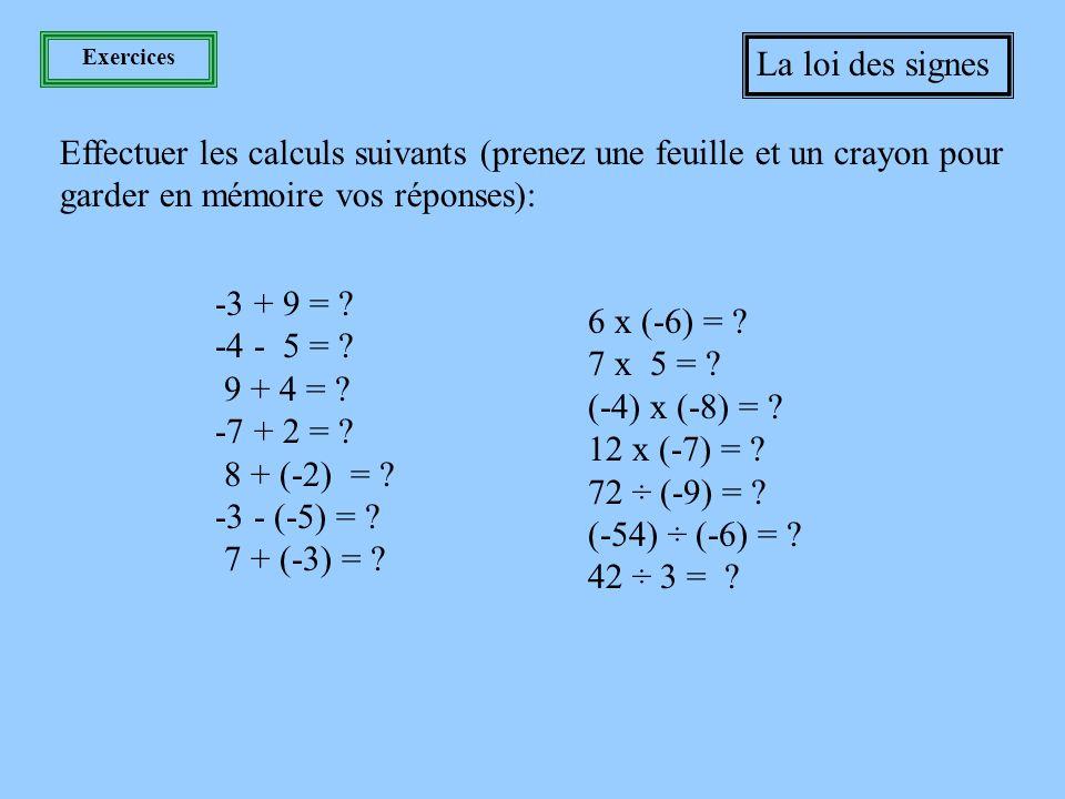 Les 4 opérations La loi des signes Multiplication et division Lorsqu'on multiplie ou divise deux nombres de signes semblables, deux positifs ou deux négatifs, le signe de la réponse sera toujours positif.
