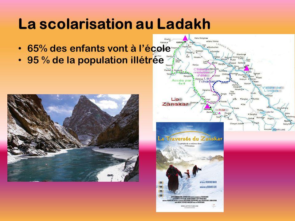 La scolarisation au Ladakh • 65% des enfants vont à l'école • 95 % de la population illétrée