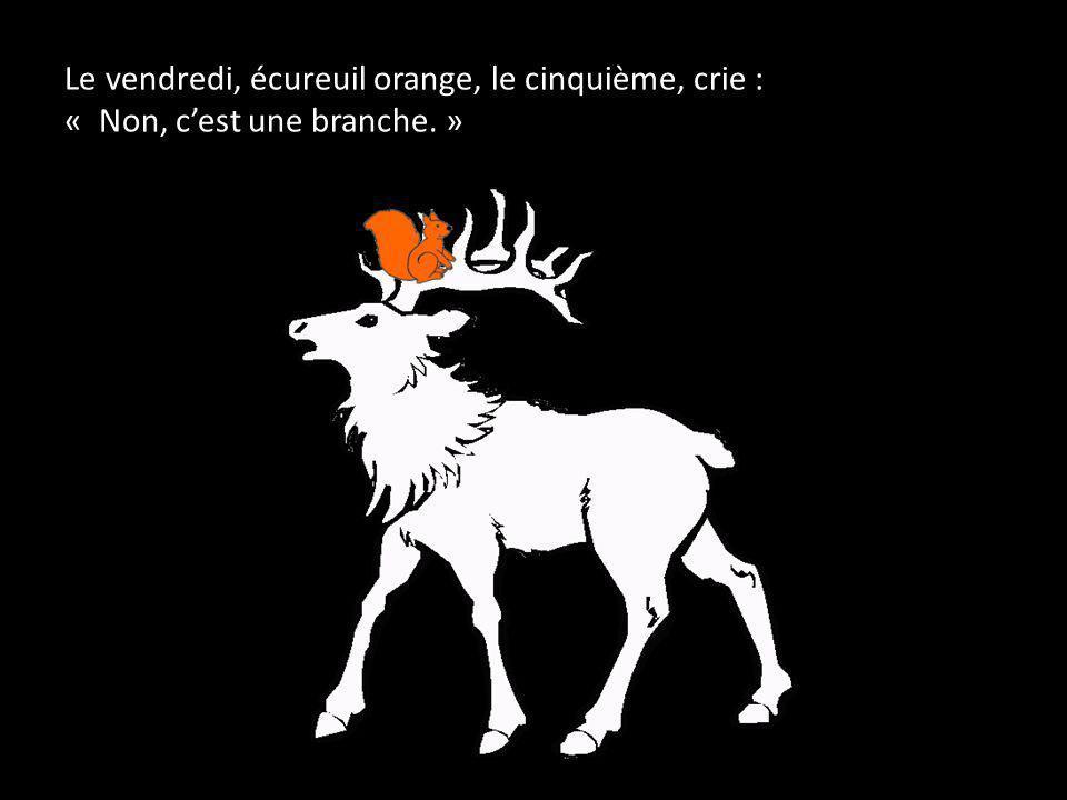 Le vendredi, écureuil orange, le cinquième, crie : « Non, c'est une branche. »