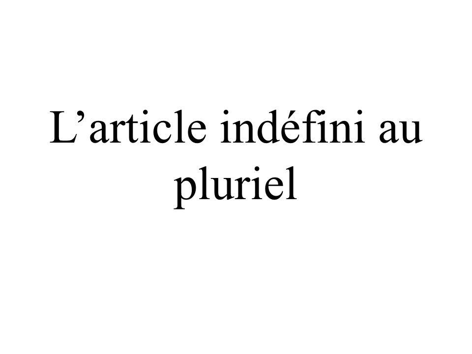 Les articles indéfinis