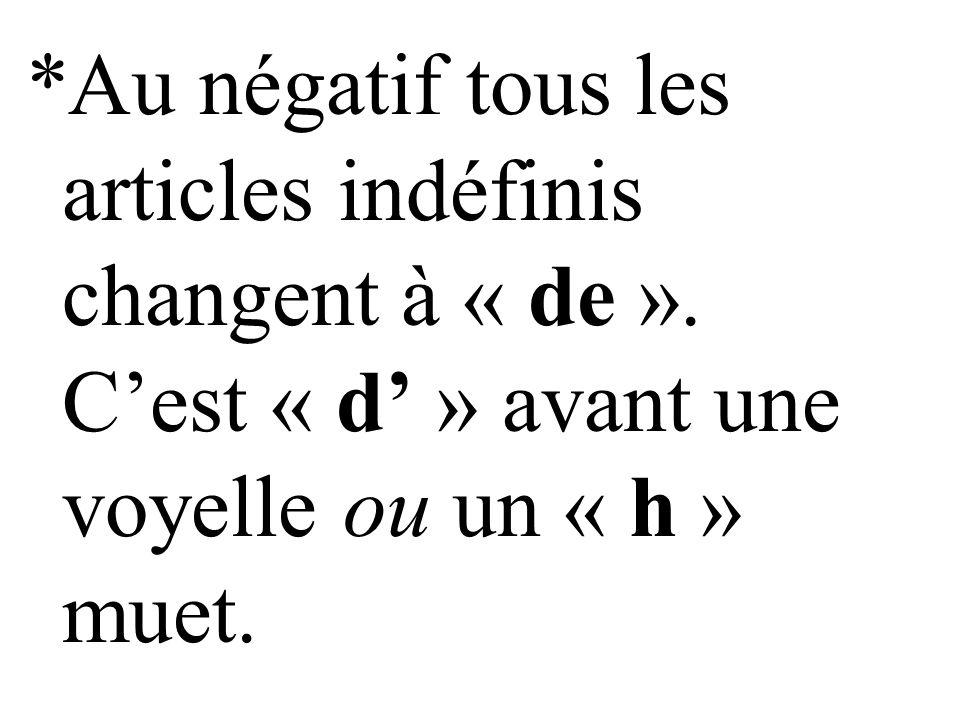 Mettez les phrases au négatif utilisant « de »: 1.J'écoute un disque.