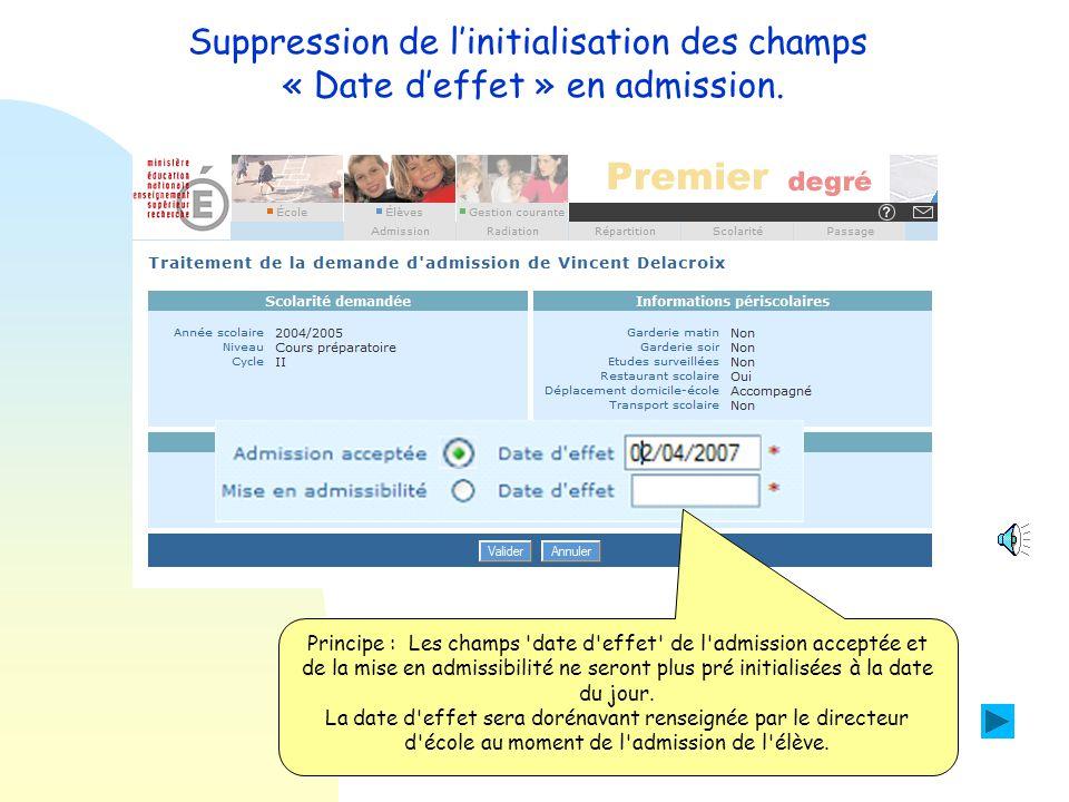 Suppression de l'initialisation des champs « Date d'effet » en admission.
