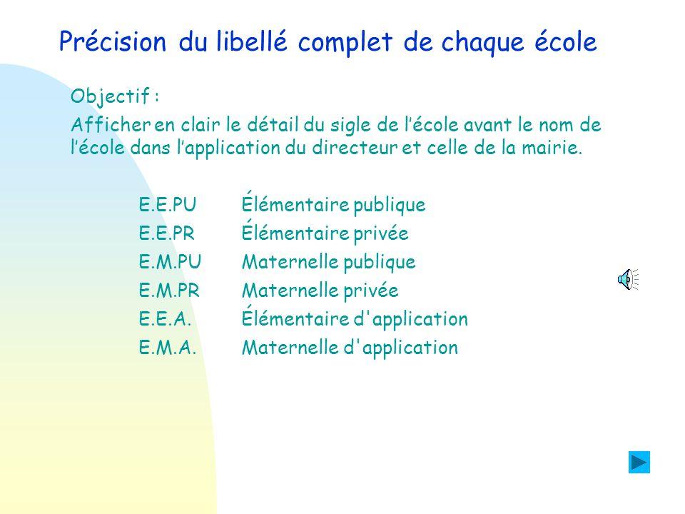 Précision du libellé complet de chaque école Objectif : Afficher en clair le détail du sigle de l'école avant le nom de l'école dans l'application du directeur et celle de la mairie.