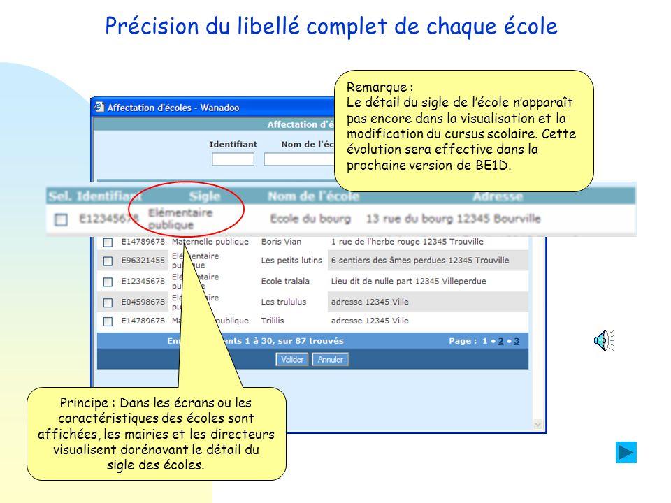 Précision du libellé complet de chaque école Objectif : Afficher en clair le détail du sigle de l'école avant le nom de l'école dans l'application du