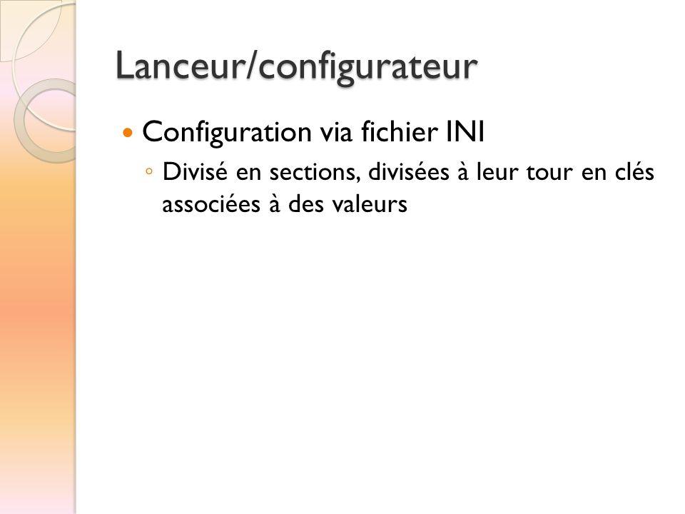 Lanceur/configurateur  Configuration via fichier INI ◦ Divisé en sections, divisées à leur tour en clés associées à des valeurs
