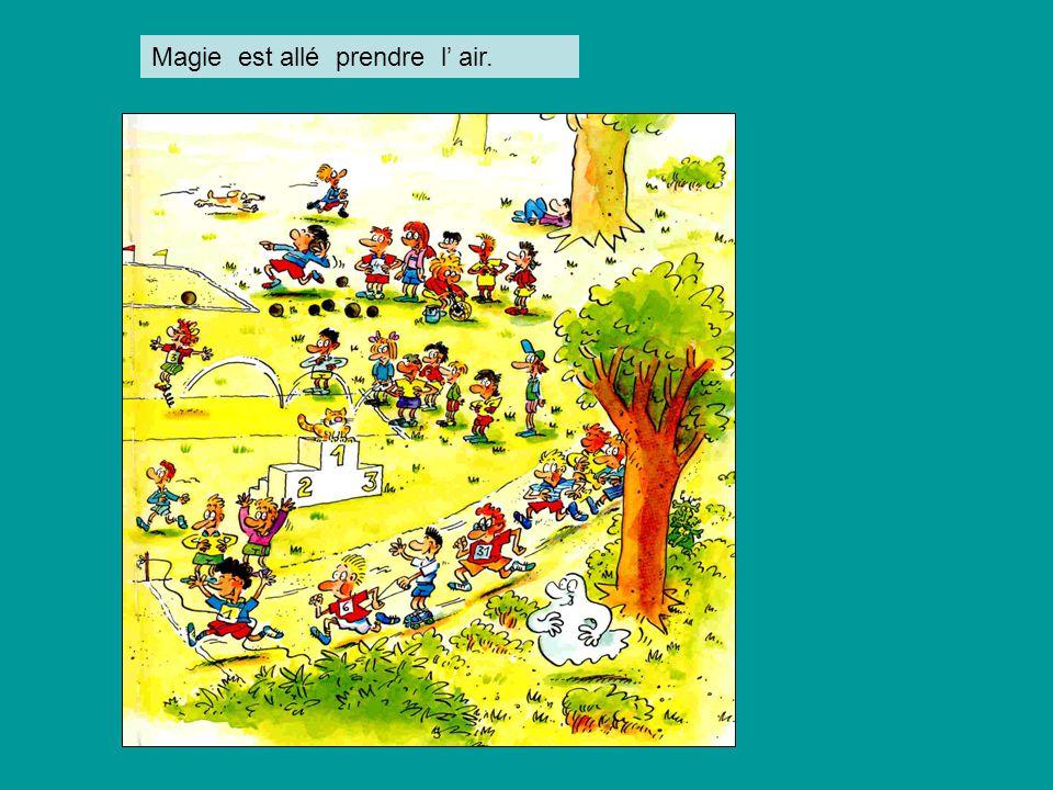 Pat et Nouille allèrent rejoindre les élèves de Magie et ils firent du sport.