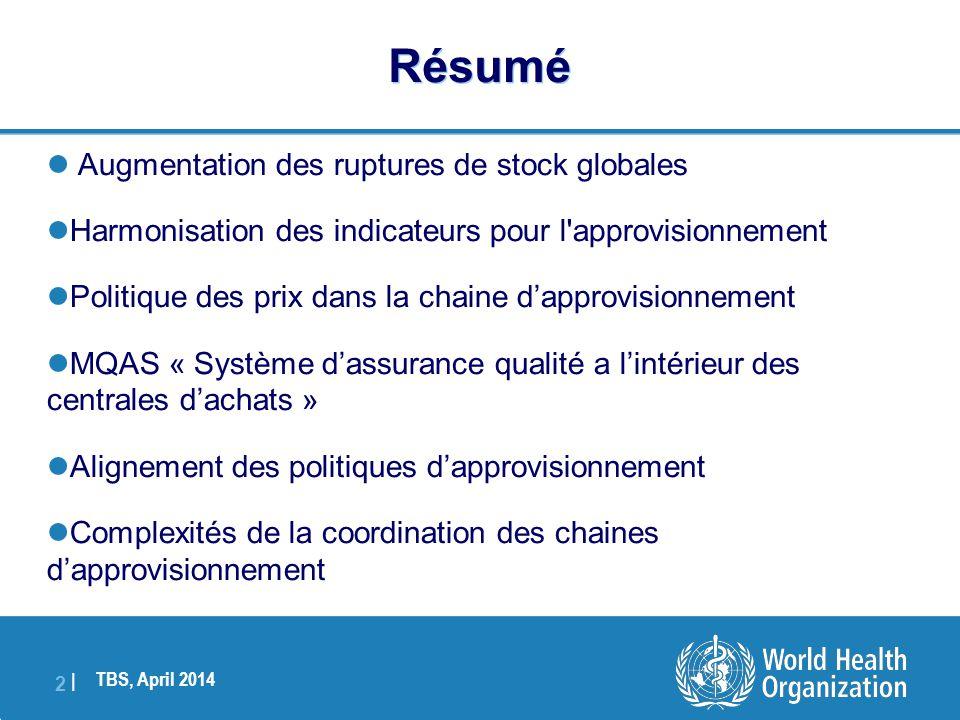 TBS, April 2014 2 |2 |  Augmentation des ruptures de stock globales  Harmonisation des indicateurs pour l'approvisionnement  Politique des prix dan