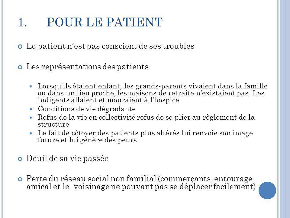 1.POUR LE PATIENT Le patient n'est pas conscient de ses troubles Les représentations des patients  Lorsqu'ils étaient enfant, les grands-parents viva