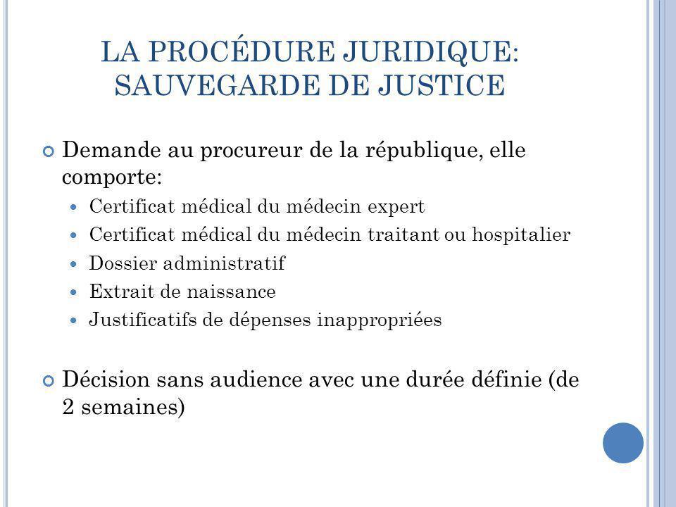 LA PROCÉDURE JURIDIQUE: SAUVEGARDE DE JUSTICE Demande au procureur de la république, elle comporte:  Certificat médical du médecin expert  Certifica