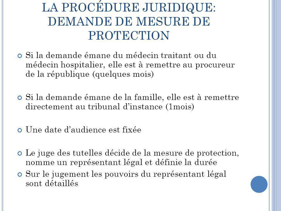 LA PROCÉDURE JURIDIQUE: DEMANDE DE MESURE DE PROTECTION Si la demande émane du médecin traitant ou du médecin hospitalier, elle est à remettre au proc