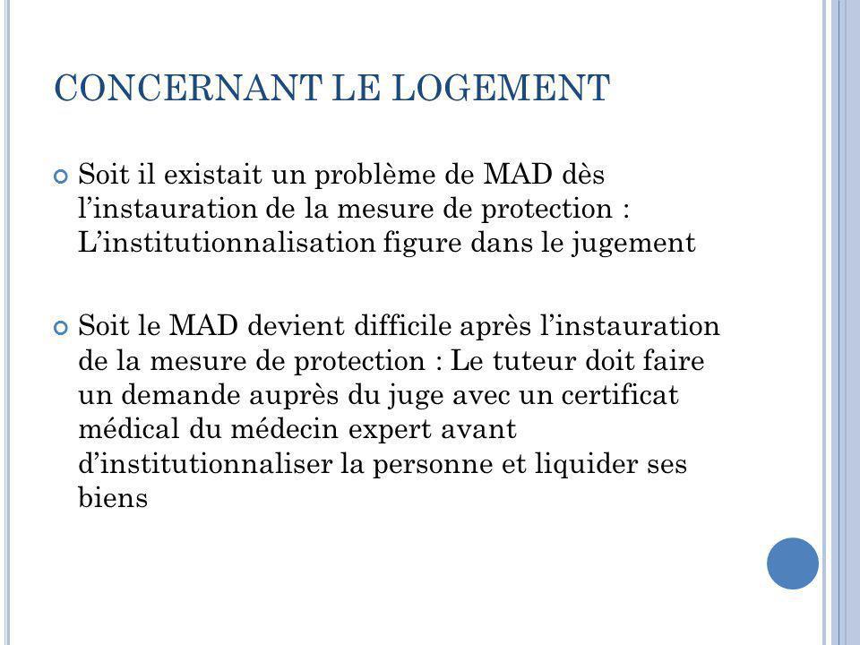 CONCERNANT LE LOGEMENT Soit il existait un problème de MAD dès l'instauration de la mesure de protection : L'institutionnalisation figure dans le juge