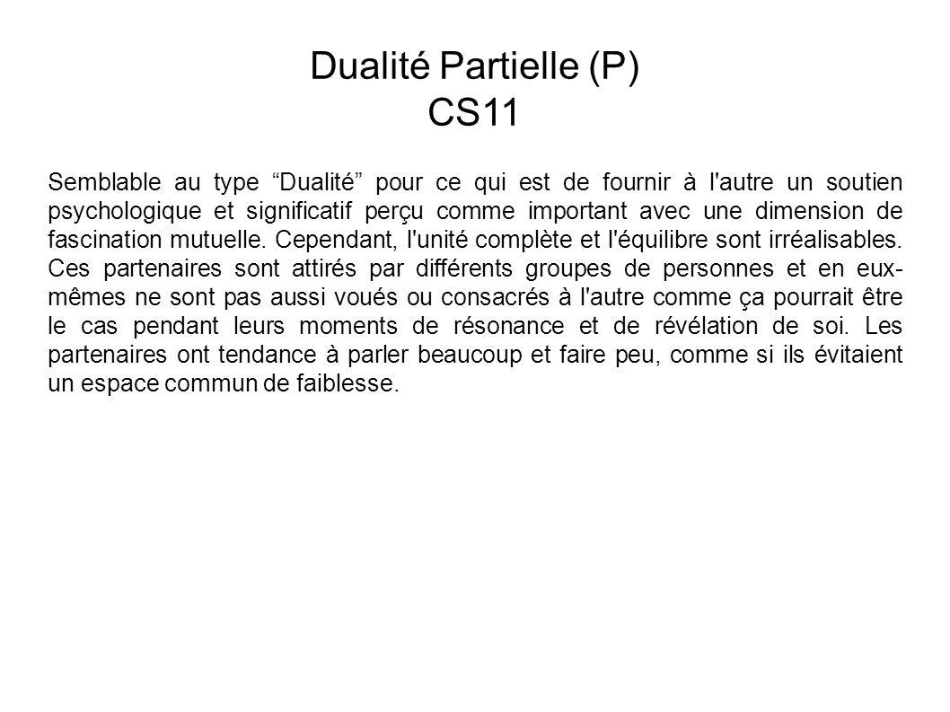 Dualité Partielle (P) CS11 Semblable au type Dualité pour ce qui est de fournir à l autre un soutien psychologique et significatif perçu comme important avec une dimension de fascination mutuelle.