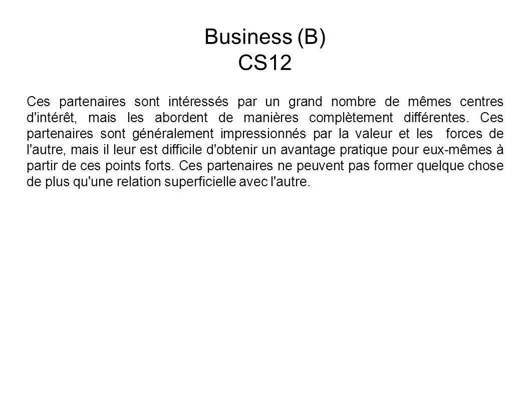 Business (B) CS12 Ces partenaires sont intéressés par un grand nombre de mêmes centres d intérêt, mais les abordent de manières complètement différentes.