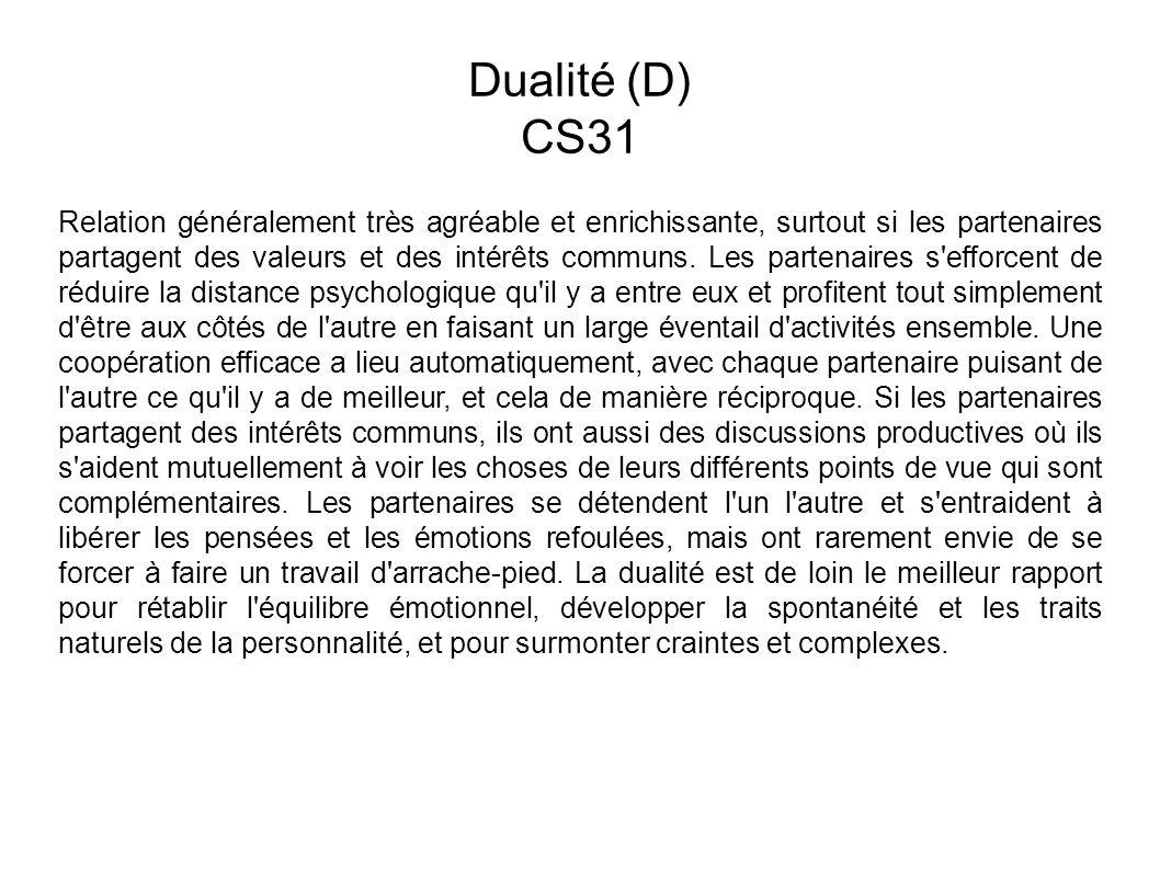 Dualité (D) CS31 Relation généralement très agréable et enrichissante, surtout si les partenaires partagent des valeurs et des intérêts communs.