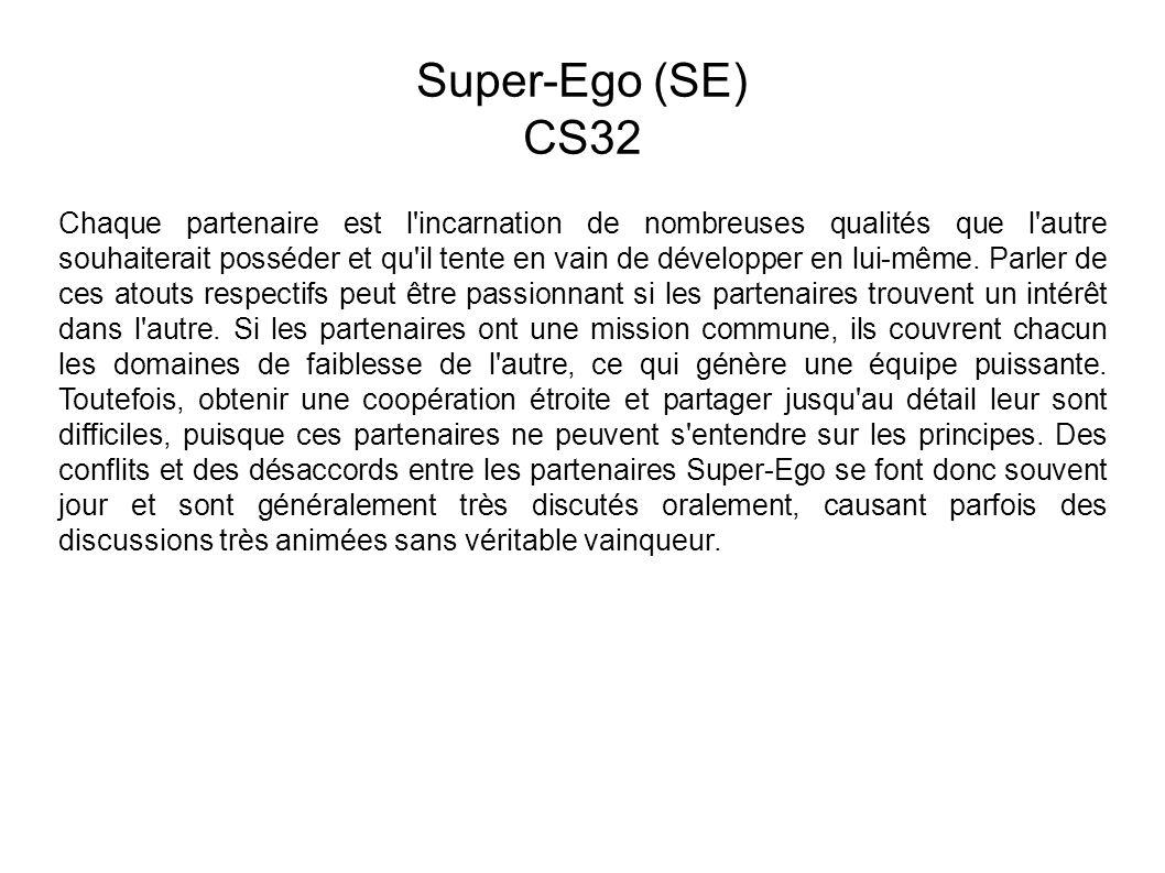 Super-Ego (SE) CS32 Chaque partenaire est l incarnation de nombreuses qualités que l autre souhaiterait posséder et qu il tente en vain de développer en lui-même.