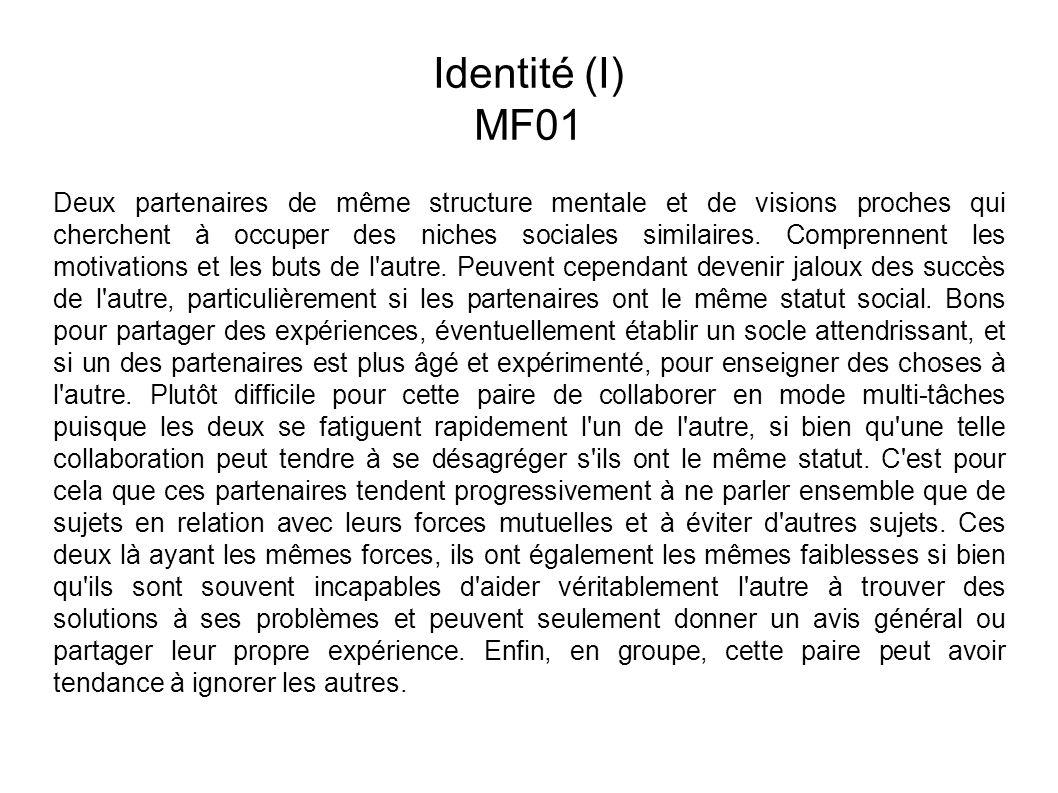 Identité (I) MF01 Deux partenaires de même structure mentale et de visions proches qui cherchent à occuper des niches sociales similaires.
