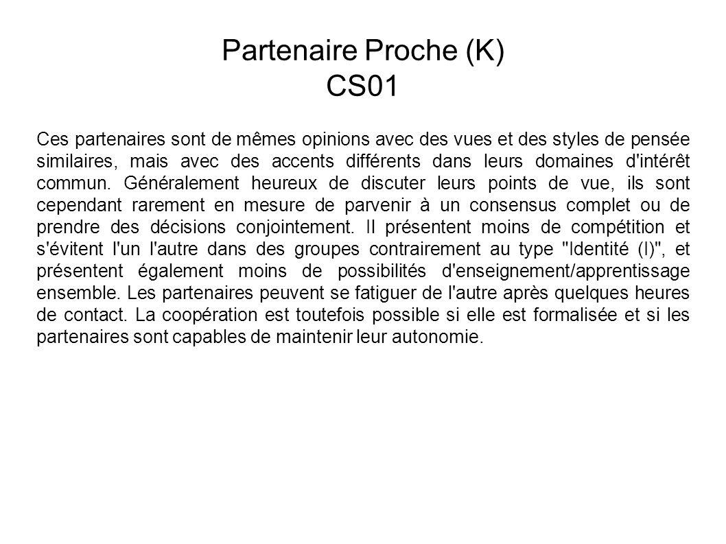 Partenaire Proche (K) CS01 Ces partenaires sont de mêmes opinions avec des vues et des styles de pensée similaires, mais avec des accents différents dans leurs domaines d intérêt commun.