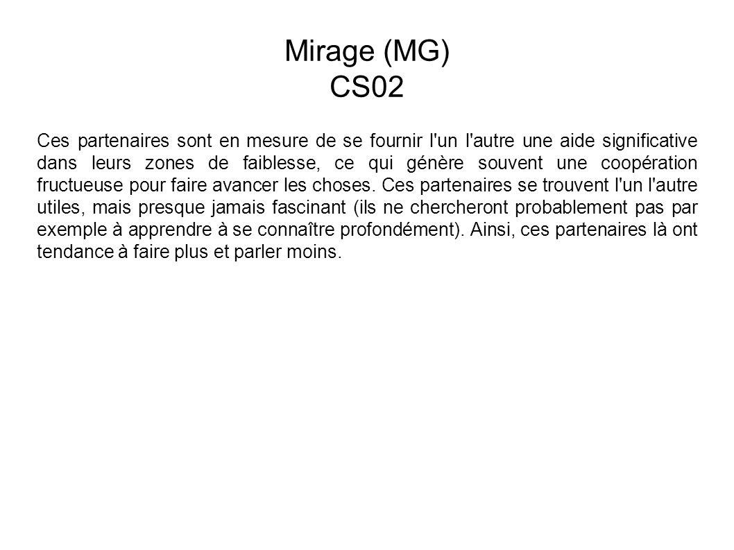 Mirage (MG) CS02 Ces partenaires sont en mesure de se fournir l un l autre une aide significative dans leurs zones de faiblesse, ce qui génère souvent une coopération fructueuse pour faire avancer les choses.