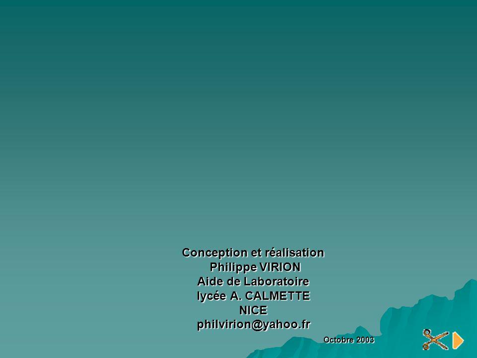 Conception et réalisation Philippe VIRION Aide de Laboratoire lycée A. CALMETTE NICE philvirion@yahoo.fr Octobre 2003
